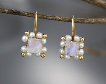 Moonstone Pearl Bridesmaid Earrings, Moonstone Earrings, Moonstone Birthstone, Bridesmaid Jewelry, Gemstone Earrings, Square Earrings, Gifts