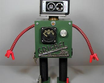 GRIEBEL Found Object Robot Sculpture  Assemblage