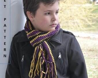 Crochet PATTERN Crochet Scarf Boyfriend Gift Mens Scarf Sports Fan Man Scarf Toddler Boy Children Clothing DIY Gift Football Season DIGITAL