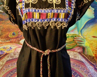 Caftan, Black Caftan, Embroidered caftan, Gypsy Caftan, embroidered maxi, size M / L