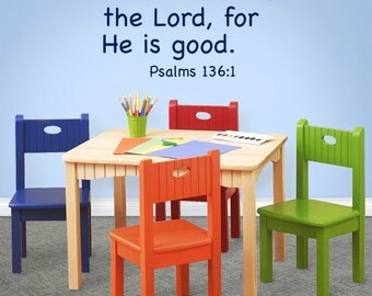 Give Thanks to the Lord, nursery wall decal, Psalms 136:1, Childrens wall decor, kids church, daycare preschool sunday school