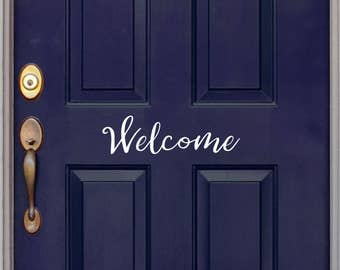 Welcome door decal, five options, front door sticker, welcome sign, farmhouse vinyl decal.