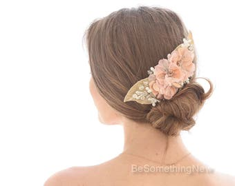 Vintage Flower Wedding Hair Comb with Peach Flowers and Velvet Champagne Leaves, Back of the Head Bridal Hair Comb Boho Wedding Headpiece
