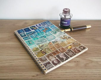 Beachy, Turquoise Brown A5 Travel Planner - Upcycled Stamp Art Cover