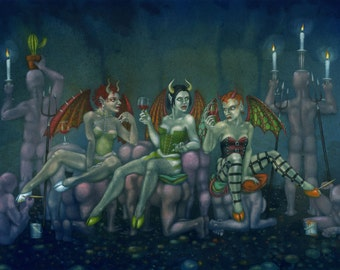 Original painting: 'Painted Devils'- painting in gouache with she-devils, fetish, dominatrix, by Nancy Farmer (unframed)