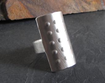 Sterling silver armor ring / size 8 / artisan ring / modern ring / sterling silver ring / medieval ring / statement ring / large ring