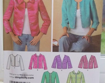 Misses' Jacket Sewing Pattern Simplicity 4280 Semi-Fitted Crop  or Hip Length Lined Jacket, High Fashion  Collar Variations Size 8 - 16