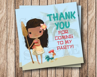 Instant Download Polynesian Princess Tags, Printable Moana Party Tags, Printable Moana Thank You Tags, Moana Birthday Party Tags
