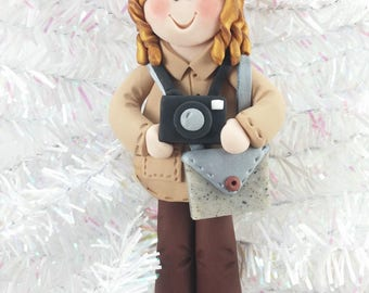 Polymer Clay Photographer Christmas Ornament - Handmade Christmas Ornament - Photographer Christmas Ornament  - Gift for Photographer - 368