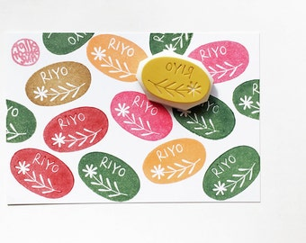 custom made name stamp. personalized cottage chic oval hand carved stamp. teacher's stamp. snail mail. card making. stamps by talktothesun