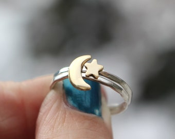 Crescent Moon Ring, Star Stack Ring, Moon And Star Ring, Sterling Stack Rings, Moon Ring, Star Ring, Midi Rings, Womens Rings, Hipster Ring