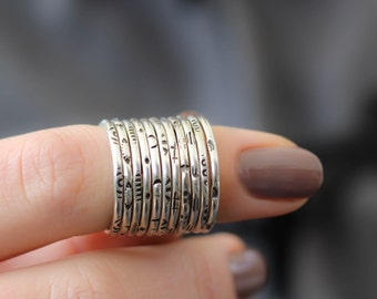 Textured Stack Rings, Sterling Stack Rings, Custom Stack Rings, Midi Ring, Sterling Silver Ring, Womens  Rings, Hipster Ring, Stack Band