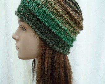Tinsel and Sparkle irish granny wool beanie cap green brown copper OOAK