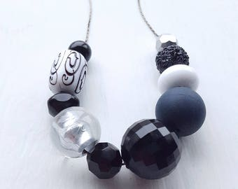 RESERVED for Jen - bulldog edition necklace - vintage remixed lucite - black white silver - wabi sabi necklace
