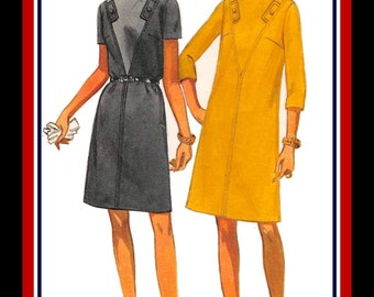 Vintage 1960s-EURO MOD CHIC-Dress-Sewing Pattern-Two Styles-Architectural Seaming-Contrast Bodice-V Insets-A-Line Cut-Plus Size 20-Rare