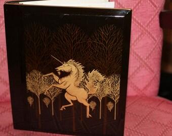 Vintage Black Lacquer Photo Album OTAGIRI Japan with Gold Unicorn holding 48 Photos