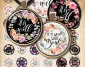 1.5 inch / 1inch / 30mm size circle images IT IS WELL Printable downloads digital sheets for pendants print-it-yourself ArtCult paper goods