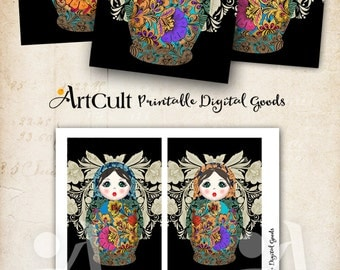 Printable BABUSHKA russian dolls 3.5x5 inch size Images Digital Collage Sheet greeting cards, hang gift tags, downloadable ArtCult designs