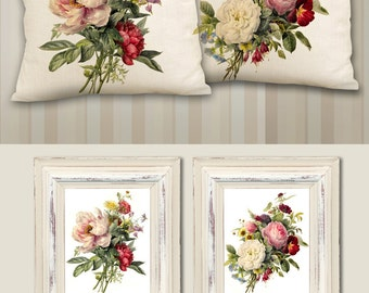 Printable Images GORGEOUS BOUQUETS 2 Digital Sheets to print on fabric or paper, Iron On Transfer for totes t-shirts pillows home decor