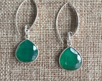 Glorious Green Bezel Set Sterling Silver Earrings