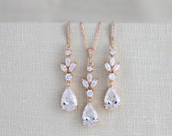 Crystal Bridal Earrings, Wedding jewelry, Wedding necklace, Swarovski Bridal jewelry, Rose gold earrings, Bridesmaid jewelry, Jewelry set