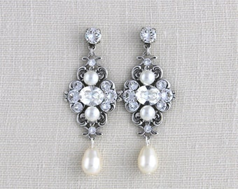 Bridal earrings, Pearl earrings, Wedding earrings, Vintage style earrings, Chandelier earrings, Swarovski crystal rhinestone earrings ASHLYN