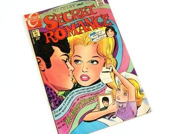 Vintage Comic Book Secret Romance No. 16, Charlton Comics 1971, Vintage Romance, Love and Heartbreak, Pop Art Teen Romance
