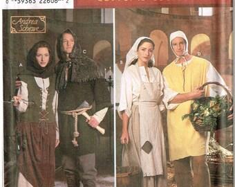 Renaissance Peasant Cosplay Reenactment Dress Vest Shoes Shirt Tunic Cape Simplicity 8587 Halloween Costume Unisex XS S M L XL Uncut