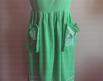 1950s 60s Bright Apple Green Cotton Picnic Dress with Large Pockets