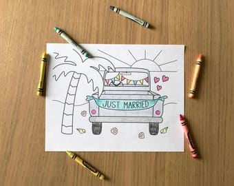 Wedding Coloring Sheet Printable - Just Married Vintage Beach Truck