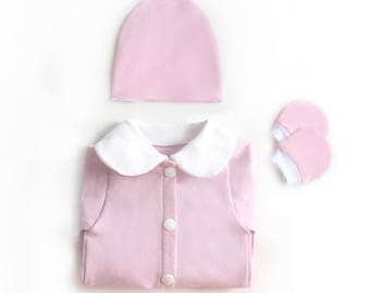 Pink Baby Girl Coming Home Outfit, Girl Newborn Sleeper Set, Custom Take Home Outfit Girl, Newborn Outfit Girl, Hospital Outfit, Going Home
