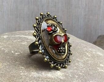 Sugar Skull Vintage Style Horror Ring, Gothic Ring, Adjustable Skull Ring, Day of the Dead, Skull Wedding, Gothic Bride, Vintage Horror Ring