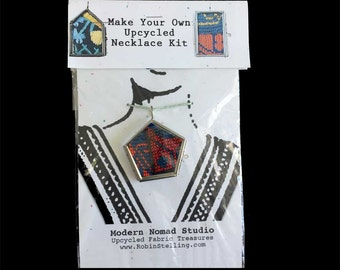 Upcycled Vintage Textile Tribal DIY Necklace Kit | Glass Locket | Fabric | Boho Chic | Make Your Own Necklace | Recycled DIY | Easy SALE