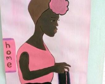 African  american art,  painting, african art pink black, black art, sharahschoices art