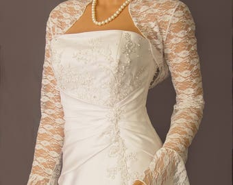 Long Bell sleeve Lace bolero jacket shrug wedding bridal wrap shawl LBA303 AVAILABLE IN white and 4 other colors. Small through plus size!