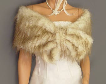 Faux Fur wrap stole pull thru shrug In Desert Fox bridal shawl wedding capelet bridesmaid cover up evening wrap ivory with beige tones FW403