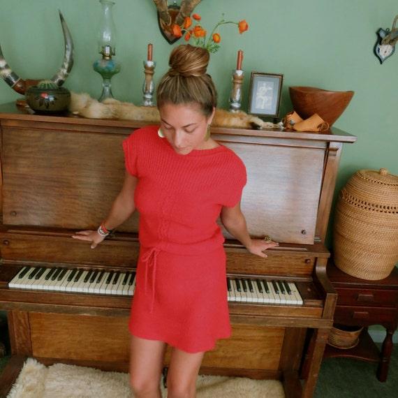 Vintage 70's Nubby Knit red Mini dress size S