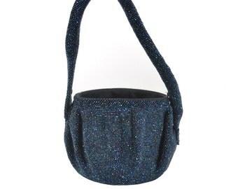 1940s blue beaded bucket bag / steel cut carnival glass beaded evening bag / 40s bag missing lid AS IS