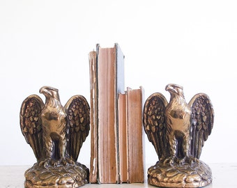 Vintage American Eagle Brass Bookends / Americana