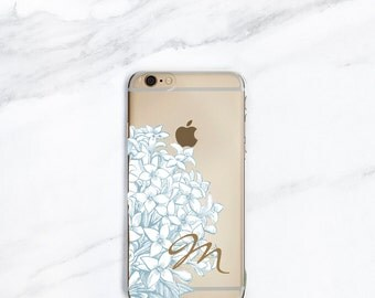 iPhone 7, Plus Case Personalized iPhone 6S Case Hydrangea SE, 5S, Cottage Chic, Shabby, Floral Gift for Her, Women, Sister, Wife, Mom
