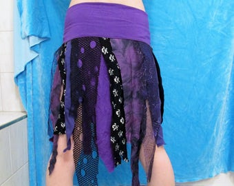 Purple Black Tattered Skirt DIY Pixie Goth Hooping Festival Clothes