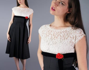 50s Black White Dress 1950s Prom Gown Deadstock Black White Lace Red Rose Vintage Party Dress Bridal NWT