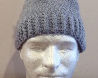 Unisex Gray ski hat with Pom Pom