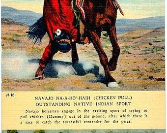 Vintage Old West Postcard - The Navajo Chicken Pull (Unused)