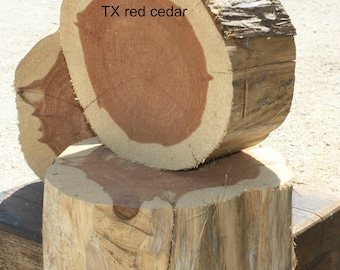"Woodworking, Carpentry, Raw Wood Pieces, Red Cedar Chunks, Set of 3, 10"" x 4.5"", beverage risers, cake or food risers,  Reclaimed TX Cedar"