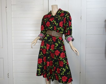 Red Roses Dress- 90s Floral Print Black Dress- Large- Long Sleeves- Cotton