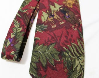 Vintage TANGO Max Raab 3.75 Inch Wide Silk Necktie, Floral with Horses