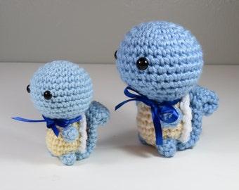 Ready to Ship - JUMBO Chibi Pokemon Amigurumi - Squirtle Squad Crochet. Turtle. Starter Pokemon Plush. Pokemon Cosplay Nintendo Fiber Art.