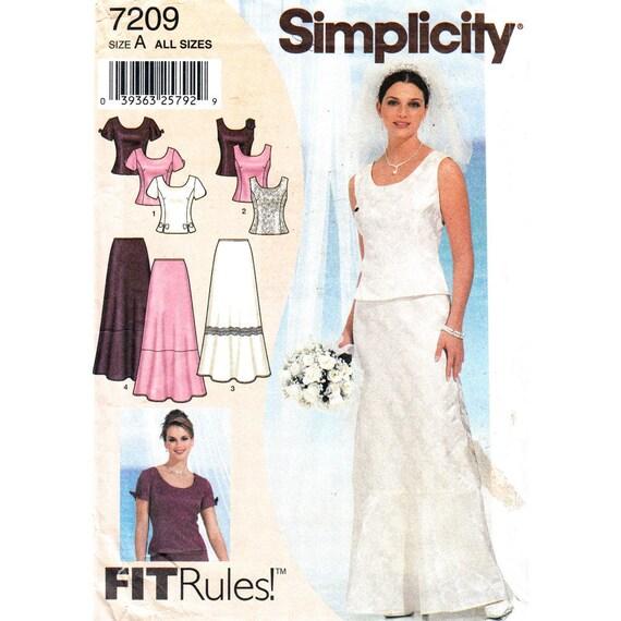 Simplicity 7209 Two Piece Evening Dress Pattern Princess Seam Top Skirt Women Bust 35 to 46