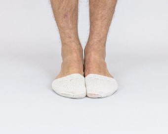 Hand knitted wool TOE-STIES by Ramune Toleikyte in natural white